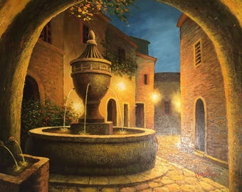 W. Adam Signed Fountain Oil Painting on Canvas