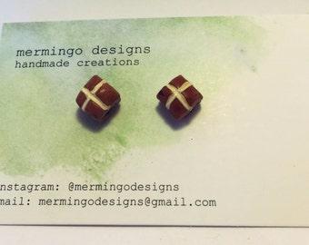 Polymer Clay Hot Cross Bun Stud Earrings