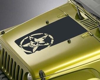 Jeep Wrangler Blackout Hood Decal Sticker - Army Star Skull Design