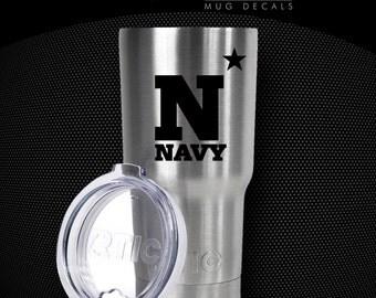 "Naval Academy - NAVY - 3"" MUG DECAL - Sticker - Yeti, Rtic, Tumbler, Coffee Mug - Choose Color"