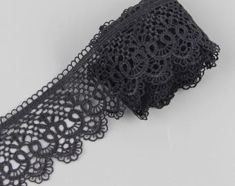 3 yards Black Lace Trim Applique