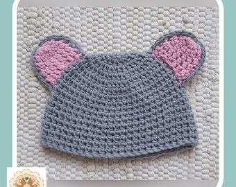 Crochet Baby Hat, Novelty Baby Hat, Crochet Mouse Baby Hat