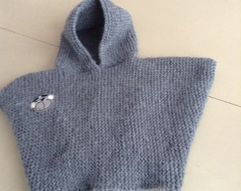 Grey knitted poncho hand size 18 months