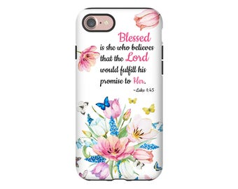 Christian iPhone 7 case, Luke 1:45 iPhone 7 case/7 Plus case, bible verse iPhone case, scripture iPhone case, Christian iPhone cover