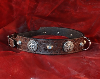 "dog leather collar ""Native Shields"", chased, indian style conchos and rivets"