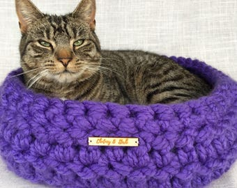 Cosy Cat Bed | Cosy Pet Bed | Cat Basket | Pet Basket | Crochet Cat Bed | Cat Furniture | Dark Purple |