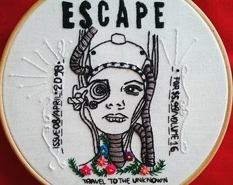 Hand embroidery art. Hoop art - Escape -