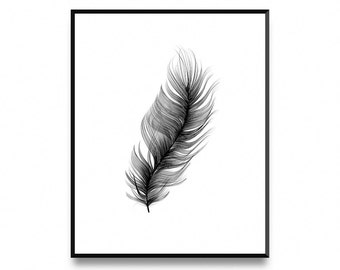 Real Feather, Wall Art Poster Print with Instant Printable Digital Download
