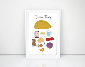 Cornish Pasty Recipe Print, Hand-drawn print A3. Cornish art gift cornwall food traditional