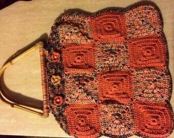 Crochet bag with bamboo handle