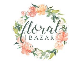 Custom Logo Design for Business Branding. Floral Wreath Watercolour Logo