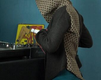 Tailcoat jacket ... Hoodie ears ... mamumble ... handmade ... unique piece. jacket woman woolkilnful ...