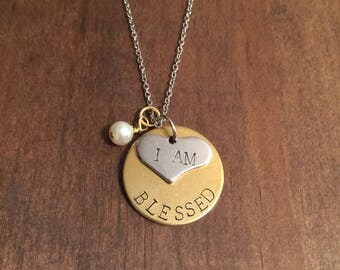 I Am Blessed Necklace- I Am Blessed Jewelry- Gold & Silver Jewelry- Hand Stamped Jewelry- Mothers Day Gift- Christian Jewelry- Gifts For Her