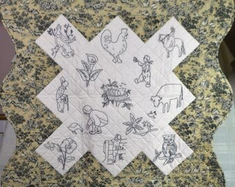 "Embroidered rural-themed wall quilt, 36""x36"""
