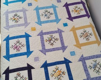 "Churn Dash Butterflies lap quilt, 62.5""x50.5"""