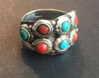 Vintage Indian turquoise and coral silver ring