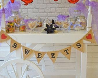 Sweets bunting, Baby Garland, Photo Booth Garland, Hessian Banner, Burlap Bunting, Wedding, Cart Bunting, Sweets Cart, Rustic