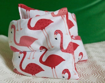 HWB cervical cushion heating organic flaxseed, pink flamingos motif fabrics and velvet corduroy - new COLLECTION