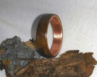 Black Walnut and Copper bent wood ring Men's Wood Ring, Natural Jewelry, Copper Ring, Wood Ring