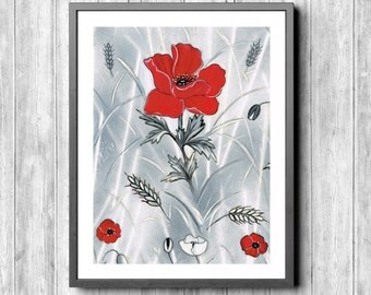 Poppy flowers, wall decoration, art print, flowers, modern painting, oil paints, prints, and immediately download,