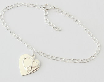 925 Sterling Silver Duo Heart Bracelet with Free Personalised Engraving, Includes Gift Box & Free Shipping