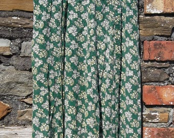Vintage 70s does 30s Hand made shift Ditsy Hippy Boho Floral Tea Dress Green Size S