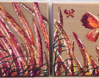 2 Piece Reeds and Butterfly Oil Painting