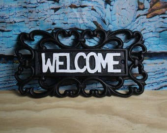 Black Cast Iron Welcome Sign