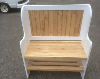 Hand crafted solid pine monks bench hallway settle bench various colours available your choice