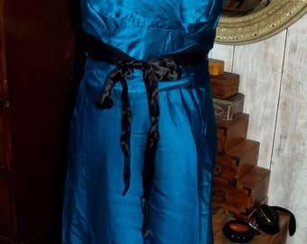 100% Silk Dress Teal and Black Size UK/AU 10