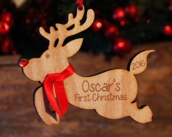 Personalised First Christmas Wooden Tree Decoration | Engraved 1st Bauble Gift