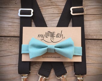 Turquoise Bow Tie with Black Suspenders, Cake Smash Outfit Boy, Baby Suspenders, Boy Suspenders, First Birthday Outfit, Newborn Photo Prop