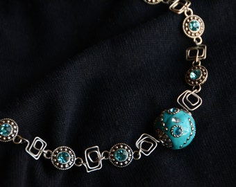 Teal Homemade Wire Wrapped Statement Necklace