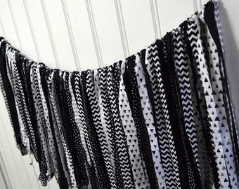 Fabric Banner, Fabric Garland, Rag Tie Garland, Rag Tie Banner, Black and White Banner, Party Decor, Photography Prop, Birthday Banner,