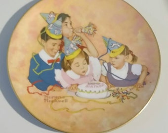 """Normal Rockwell """"Birthday Party"""" Plate, The American Family Series, 1979"""