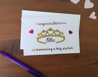 Congratulations on becoming a big sister, personalised new baby sibling greetings card. Perfect for your older daughter/s.