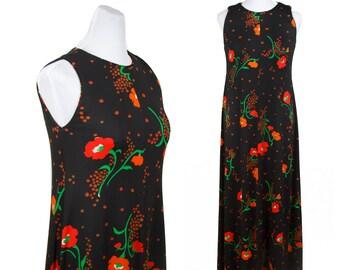1970s Dress // Black Jersey Poppy Print Maxi Dress