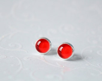 Silver plated 8 mm earrings red cabochon