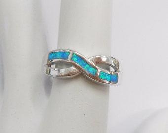 Opal Ring, Opal Band, Blue Fire Opal, Sterling Ring, Sterling Band, Sterling Silver Blue Fire Opal Inlay Band Ring Sz 9 #819