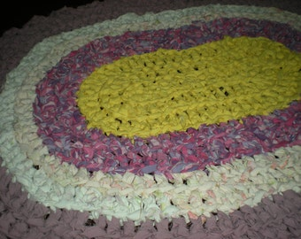 Crochet oval rag rug, mat, ,yellow, pinks and mauve Bath, cottage, country