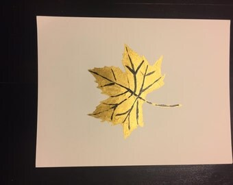 A Golden Leaf With Black Lines on thick white paper 11*8.5""