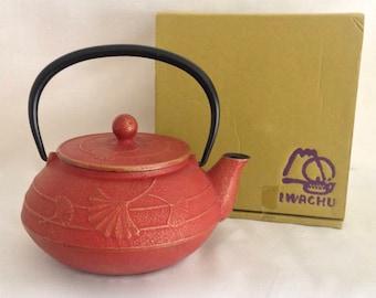IWACHU Japanese Tetsubin Cast Iron Tea Pot Orange/Red Gold Trim Leaves
