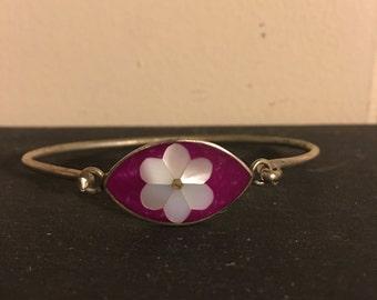 Vintage Silver Bangle Style Bracelet Clasp Purple Pearl Flower Gemstone