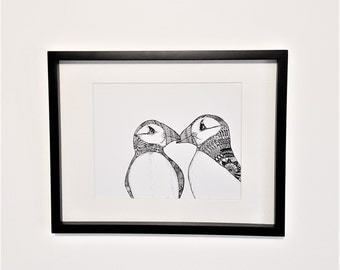 Puffin doodle print