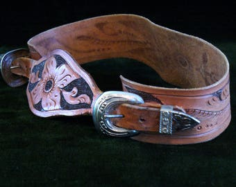 Vintage Pressed Tin and Tooled Stamped Leather Two Piece Cap Gun Belt