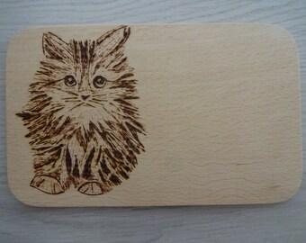 Cat Vesperbrett cutting board wood pyrography gift