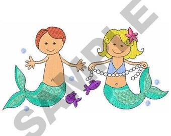 Mermaid And Merman - Machine Embroidery Design