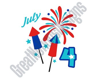 July 4th Fireworks - SVG - HTV - Vinyl Cutting Graphic Art