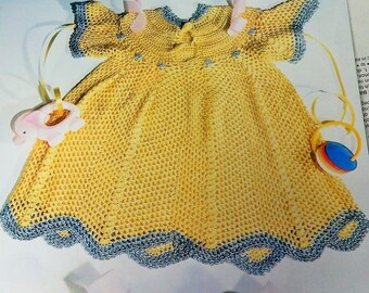 Crochet Pattern Toddler  Heirloom Dress (2T-3T Sizes),  Filet Bunnies Rabbit , Dining Out Bibs