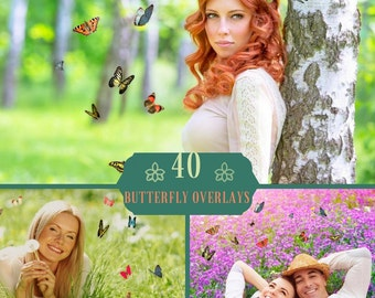 40 Butterfly Overlays, Photoshop Overlays, Flying Butterflies, Natural Butterfly Overlays, Flying Butterfly Photo Overlays, Butterfly PNG